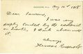 Autographs:U.S. Presidents, Theodore Roosevelt Sends Thanks for an Article Eulogizing HisRecently Deceased Son, Quentin Brief, but poignant ALS, 1 page...