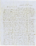 """Autographs:U.S. Presidents, Rare First Lady Anna Harrison Autograph Letter Signed, two pages,8.25"""" x 10.75"""", North Bend, Ohio, November 18, 1848, to Ph..."""
