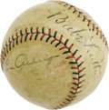 Autographs:Baseballs, 1927 Babe Ruth & Lou Gehrig Signed Baseball. While thetremendous visual quality of this autographed baseball is certainto...