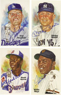 Autographs:Post Cards, Hall of Famers Signed Perez-Steele Postcards Lot of 44. Theaward-winning portraiture of sports artist Dick Perez provides ...