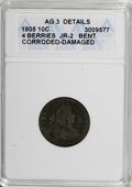 Early Dimes, 1805 10C 4 Berries--Bent, Corroded, Damaged--ANACS. AG3 Details.JR-2. NGC Census: (8/219). PCGS Population (11/282). Mint...