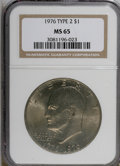 Eisenhower Dollars: , 1976 $1 Type Two MS65 NGC. NGC Census: (1175/274). PCGS Population (999/338). Mintage: 113,318,000. Numismedia Wsl. Price f...