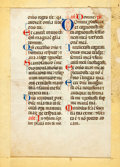 "Books:Manuscripts, Medieval Breviary Psalter Leaf on Vellum in Latin. Psalms 137-8.""By the rivers of Babylon we sat and wept when we reme..."