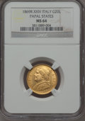 Italy:Papal States, Italy: Papal States. Pius IX gold 20 Lire 1869-R MS64 NGC,...
