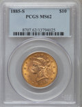 Liberty Eagles: , 1885-S $10 MS62 PCGS. PCGS Population (255/97). NGC Census: (236/60). Mintage: 228,000. Numismedia Wsl. Price for problem f...