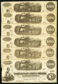 Confederate Notes:1862 Issues, T40 $100 1862, Six Examples.. ... (Total: 6 notes)