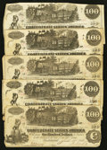 Confederate Notes:1862 Issues, T39 $100 1862, Five Examples.. ... (Total: 5 notes)