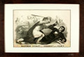 Books:Prints & Leaves, [Political Cartoon] J. L. Magee. Original Lithograph, SouthernChivalry--Argument versus Club's. 1850s. Framed. Meas...