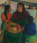 Paintings, CATHARINE CARTER CRITCHER (1868-1964). Mother and Daughters, 1936. Oil on canvas. 37-1/2 x 32 inches (95.3 x 81.3 cm). S...