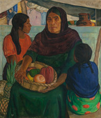 CATHARINE CARTER CRITCHER (1868-1964) Mother and Daughters, 1936 Oil on canvas 37-1/2 x 32 inches