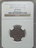 Colombia, Colombia: Santa Marta. Ferdinand VII 1/4 Real 1820 XF40 BrownNGC,...