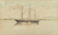 Works on Paper, AMERICAN SCHOOL (19th Century). Ship in Profile along the Water. Watercolor and pencil on paper. 9-1/4 x 15 inches (23.5...