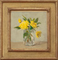 Fine Art - Painting, American:Contemporary   (1950 to present)  , ROBERT KULICKE (American, 1924-2007). Yellow Flowers in a GlassJar, 1976. Oil on board. 8-1/2 x 8-1/4 inches (21.6 x 21...