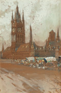 Fine Art - Painting, American:Modern  (1900 1949)  , GEORGE WHARTON EDWARDS (American, 1859-1950). The Great ClothHall at Ypres, circa 1916. Gouache and watercolor on paper...