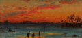 Fine Art - Painting, American:Antique  (Pre 1900), Attributed to JOHN JOSEPH ENNEKING (American, 1841-1916). Sunsetwith Figures. Oil on board. 2-5/8 x 5-1/8 inches (6.7 x...
