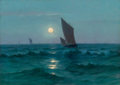 Fine Art - Painting, American:Modern  (1900 1949)  , LIONEL WALDEN (American, 1861-1933). Moonlit Waters. Oil oncanvas. 18-1/4 x 25-1/4 inches (46.4 x 64.1 cm). Signed lowe...