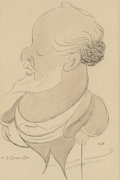 Fine Art - Work on Paper:Drawing, AMERICAN SCHOOL (20th Century). Portrait of J. CorneliusCarr. Pen and ink and wash on paper. 10 x 6-1/4 inches (25.4 x...
