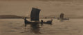 Fine Art - Painting, American:Modern  (1900 1949)  , Milton James Burns (American, 1853-1933). Sailing byMoonlight, 1904. Watercolor on paper. 7-1/4 x 17 inches (18.4 x43....