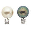 Estate Jewelry:Earrings, Cultured Pearl, Diamond, White Gold Earrings. ...