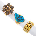Estate Jewelry:Rings, Black Star Sapphire, Turquoise, Gold Rings. ... (Total: 3 Items)
