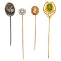 Estate Jewelry:Stick Pins and Hat Pins, Peridot, Diamond, Cameo, Gold, Silver Stick Pins. ... (Total: 4Items)