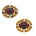 Estate Jewelry:Cufflinks, Tourmaline, Diamond, Gold Cuff Links. ...