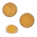 Estate Jewelry:Lots, Gentleman's Coin, Gold Jewelry. ... (Total: 2 Items)