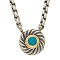 Estate Jewelry:Necklaces, Turquoise, Sterling Silver, Gold Necklace, David Yurman. ...