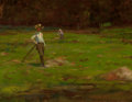 Fine Art - Painting, American:Antique  (Pre 1900), AMERICAN SCHOOL (19th Century). Boys Haying, circa 1880. Oilon board. 7 x 9 inches (17.8 x 22.9 cm). FROM THE JEAN AN...