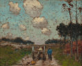 Fine Art - Painting, American:Antique  (Pre 1900), Frank Russell Green (American, 1856-1940). Figures along aCountry Road. Oil on canvasboard. 6-1/2 x 8-1/4 inches (16.5...