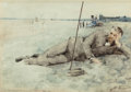 Fine Art - Work on Paper:Watercolor, Julian Alden Weir (American, 1852-1919). Man Reclining on aBeach, 1879. Watercolor on paper. 9-1/2 x 13-1/2 inches (24....