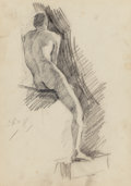 Fine Art - Work on Paper:Drawing, DENNIS MILLER BUNKER (American, 1861-1890). Male Nude, 1879. Pencil and charcoal on paper. 11-1/2 x 8-1/2 inches (29.2 x...