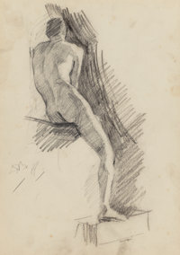 DENNIS MILLER BUNKER (American, 1861-1890) Male Nude, 1879 Pencil and charcoal on paper 11-1/2 x