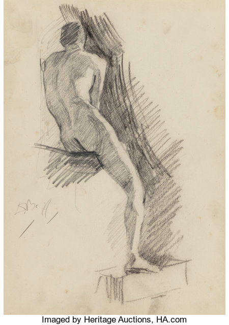 Dennis Miller Bunker (American, 1861-1890)Male Nude, 1879Pencil and charcoal on paper11-1/2 x 8-1/2 inches (29.2 x...