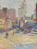 Fine Art - Painting, American:Modern  (1900 1949)  , EDWIN HAWLEY HEWITT (American, 1874-1939). The Singer Buildingfrom Lower Broadway and The Singer Building from Fulton...(Total: 2 Items)