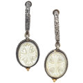 Estate Jewelry:Earrings, Mother-of-Pearl, Sterling Silver, Gold Earrings, Konstantino. ...