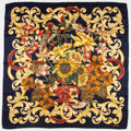 """Luxury Accessories:Accessories, Chanel 90cm Navy & Gold Floral Silk Scarf. Excellent Condition. 35"""" Width x 34"""" Length. ..."""
