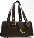 """Luxury Accessories:Bags, Chloe Brown Leather Shoulder Bag with Brass Hardware. Very GoodCondition . 12"""" Width x 6"""" Height x 5"""" Depth, 8""""Shoul..."""