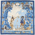 """Luxury Accessories:Accessories, Hermes 90cm Blue, White & Gold """"Samuel de Champlain,"""" by KermitOliver Silk Scarf. Very Good Condition. 36"""" Width x36..."""