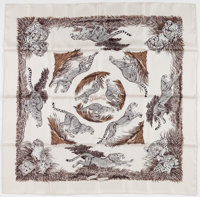 """Hermes 90cm Gray & Black """"Guépards,"""" by Robert Dallet Silk Scarf Excellent to Pristine Condition..."""