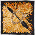 "Luxury Accessories:Accessories, Hermes 90cm Black & Gold ""Eva,"" by Phillipe Dumas Silk Scarf. Pristine Condition. 36"" Width x 36"" Length. ..."