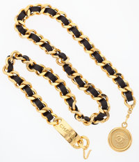 "Chanel Gold & Black Lambskin Leather Woven Medallion Belt Excellent Condition .5"" Width x 33"" Adjustab..."