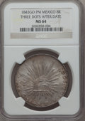 Mexico, Mexico: Republic 8 Reales 1843 Go-PM MS64 NGC,...