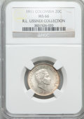 Colombia, Colombia: Republic 20 Centavos 1911 MS66 NGC,...