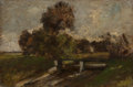 Paintings, SION LONGLEY WENBAN (American, 1848-1897). Sluice, Munich Landscape, circa 1890. Oil on canvas. 12-3/4 x 19 inches (32.4...