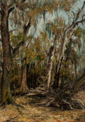 Fine Art - Painting, American:Antique  (Pre 1900), CLEMENT T. YOUENS (American, 1864-1964). A Swamp Scene inBurleson County, Texas, 1894. Oil on canvas. 14 x 12 inches(3...
