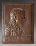 Bronze:American, JAMES EARLE FRASER (American, 1876-1953). Portrait Plaque ofTheodore Roosevelt, 1920. Bronze relief with brown patina. ...