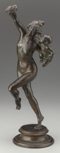 Bronze:American, FREDERICK WILLIAM MACMONNIES (American, 1863-1937). Bacchanteand Infant Faun, 1890. Bronze with brown patina. 16 inches...