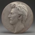 Sculpture, Ernst Gustav Herter (German, 1846-1917). Portrait Medallion. Marble. 15 inches (38.1 cm) diameter. Signed lower center: ...