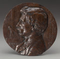 Fine Art - Sculpture, American:Antique (Pre 1900), Olin Levi Warner (American, 1844-1896). Portrait Medallion ofThomas Clarkson Wilberfoss, 1892. Bronze with brown patina...